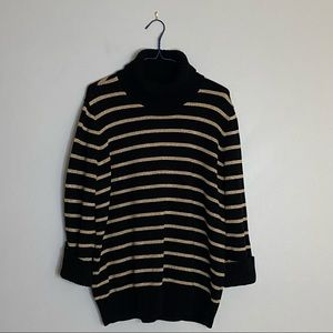 Jones New York Black and Gold Turtleneck Sweater
